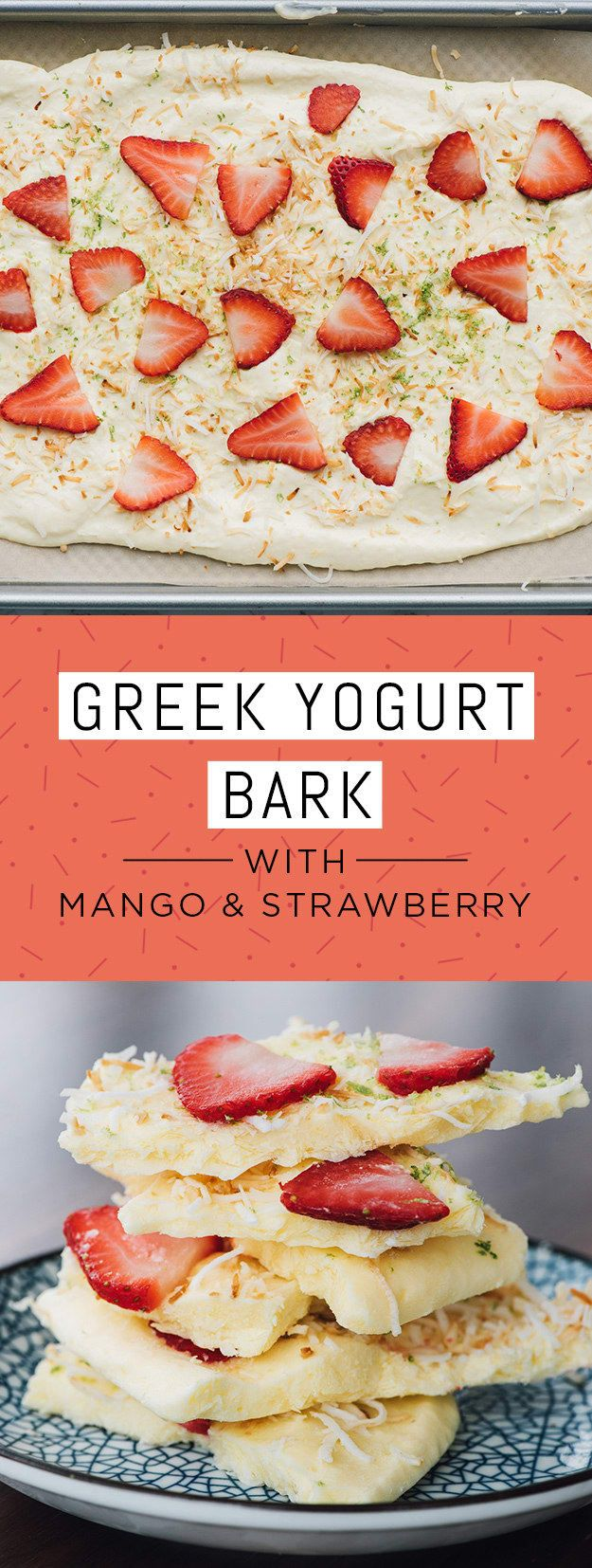 """Ingredients: 2 cups 2% Greek yogurt; 1 cup diced mango; 5 strawberries, sliced; ¼ cup unsweetened shredded coconut, toasted; zest of 1 lime.To make: Combine Greek yogurt and mango in a blender and puree until smooth. Spread mixture onto a parchment-lined sheet tray into an even ¼"""" layer. Top with shredded sliced strawberries, coconut, and lime zest. Freeze uncovered until frozen, about two hours. Break into pieces and serve immediately. Keep any uneaten bark in freezer."""