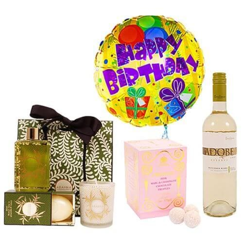 Premium Happy Birthday Gift Bundle Give them a combination of all the above gifts in a beautifully wrapped gift box. A Happy Birthday Balloon, a box of bathing essentials, a bottle of beautiful and tasty Lallier Premier Cru Rose Brut Champagne and a box of chocolate truffles.