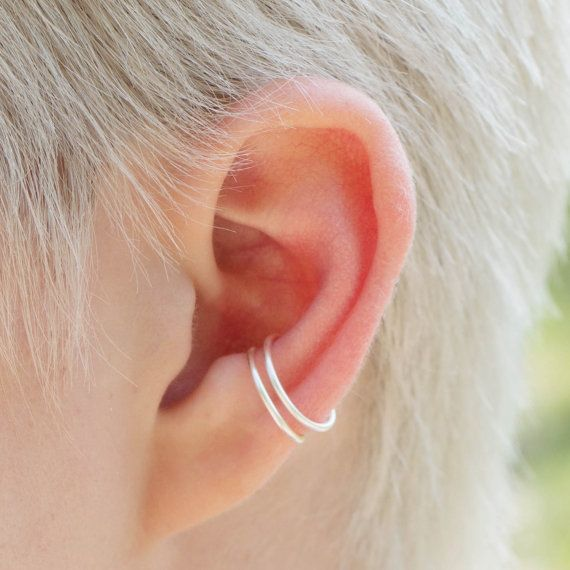 Fake Piercing, Double Conch Hoops NO PIERCING required! Gold / Silver 18 gauge, Ear Cuffs, fake earring, Cartilage Cuff, stackable earrings
