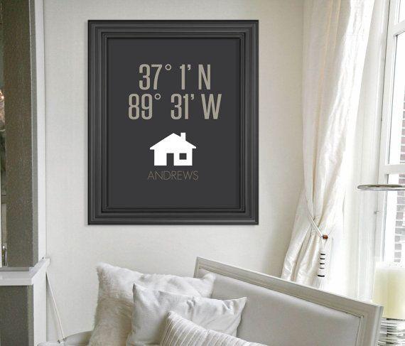 Benutzerdefinierte Housewarming Geschenk / / Breitengrad Längengrad neues Zuhause Kunstdruck Geschenk / / personalisierte Andenken Geschenk / / Gift für Brautpaar / / Wedding Gift