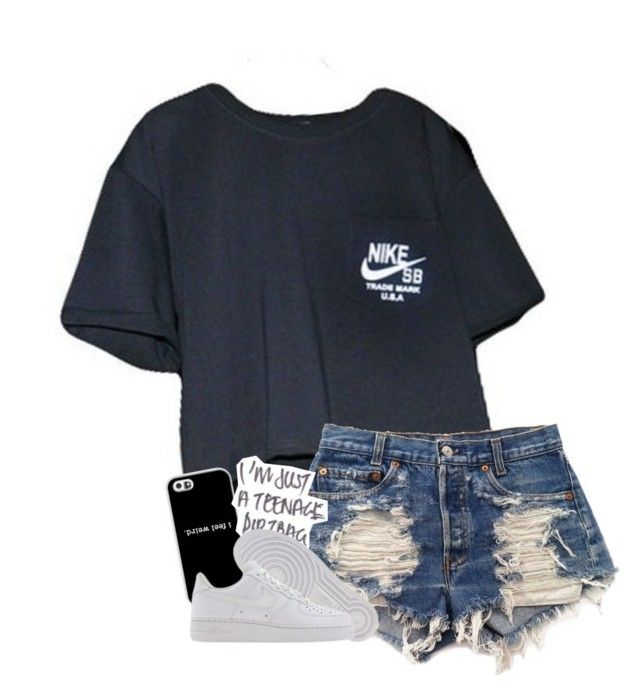 """when I leave I'm knowin you miss me"" by graciegirl2015 ❤ liked on Polyvore featuring NIKE and Levi's"