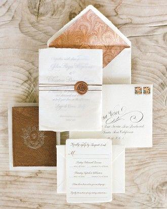 Hand Letterpress custom invitations for John Legend & Chrissy Teigen's wedding | Wiley Valentine via Martha Stewart Weddings