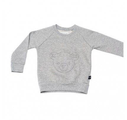 Hux Bear Fleece Sweater Grey from Huxbaby's AW16 collection from Baby Dino.  www.babydino.com.au