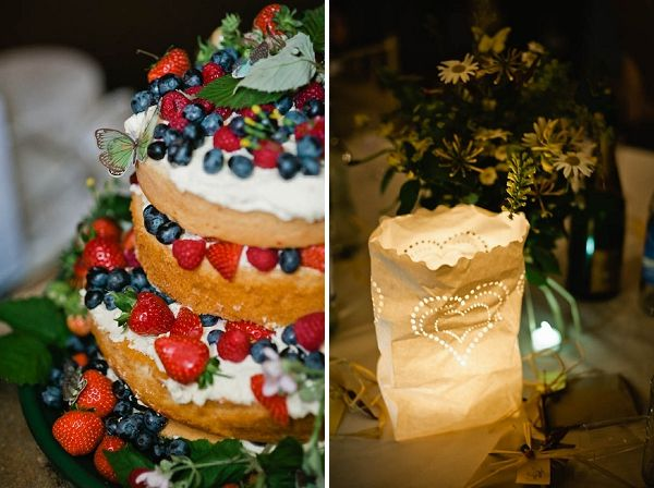 rustic naked wedding cake  Tipis by www.worldinspiredtents.co.uk