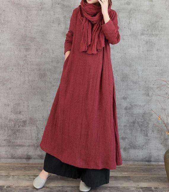 Linen maxi dress dark red dress women black maxi dress | Etsy ,  #black #dark #d…