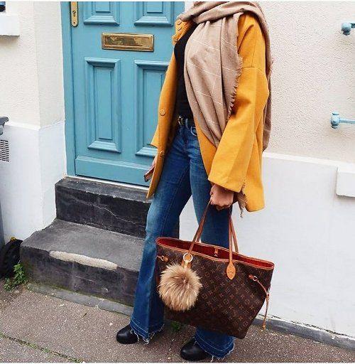 mustard coat-Hijab street style looks – Just Trendy Girls