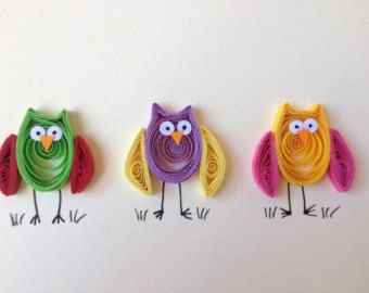 Owls Greeting Card, quilled owl card, quilled art, quilled blank card with colorful funny owls