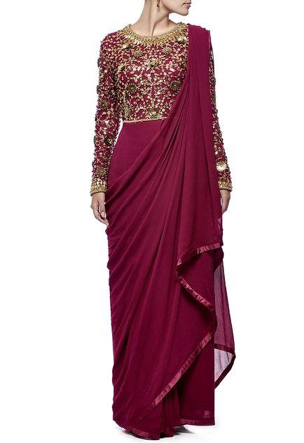 Deep mauve & gold embellished draped anarkali set