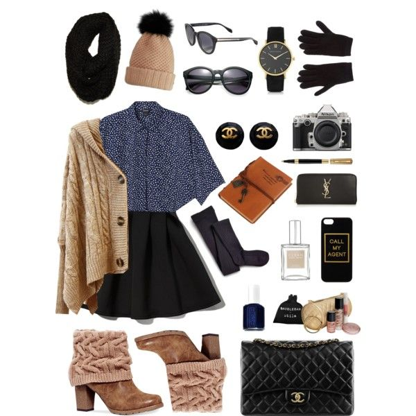 sreet style: winter collection by srsstreetcouture on Polyvore featuring polyvore, fashion, style, Monki, Abercrombie & Fitch, Sperry Top-Sider, Inverni, Muk Luks, Yves Saint Laurent, Larsson & Jennings, Chanel, Paula Bianco, Burberry, Alexander McQueen, ASOS, Stila, Essie and Nikon