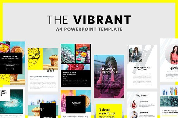 Vibrant - A4 Printable - PowerPoint by PitchLabs.co on @creativemarket