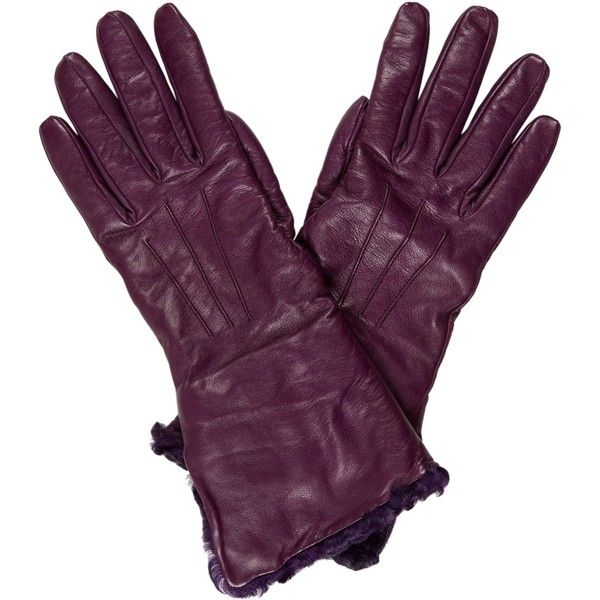 Pre-owned Etro Persian Lamb Fur-Lined Gloves ($95) ❤ liked on Polyvore featuring accessories, gloves, purple, leather gloves, purple leather gloves, purple gloves, etro and fur lined leather gloves