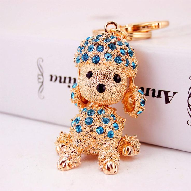 Cheap key chain, Buy Quality dog keychain directly from China key key chain Suppliers: Year 2018 Dog Cute Blue Crystal Rhinestone Pet Dog Keychain Poodle Key chain For Lady Car Handbag Key Ring WL161206101
