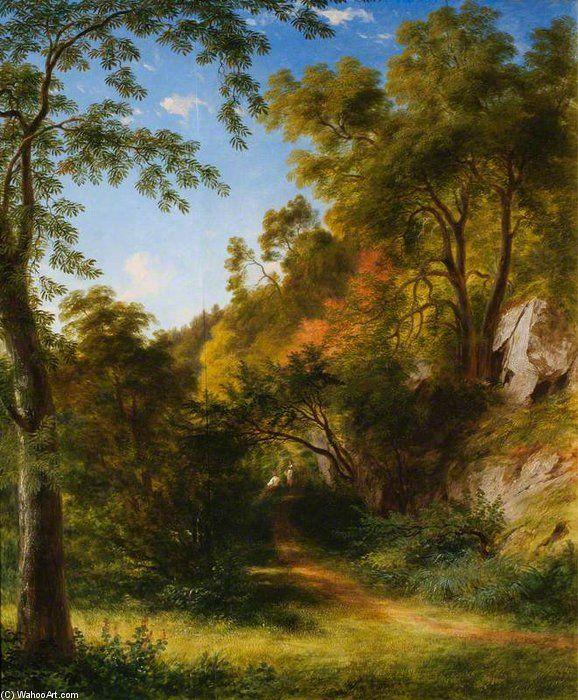Chemin de région boisée avec des figures de James William Giles (1801-1870, United Kingdom)