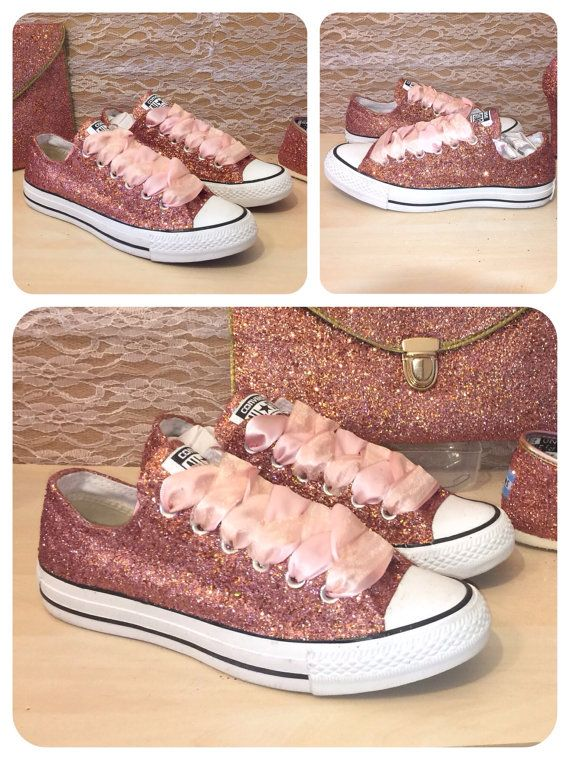 Custom made ROSE GOLD glitter converse Pictures dont do these amazing shoes justice Handmade with sparkly metallic Rose Gold glitter ******************************************************* Please choose between the available options.  1.No crystals (exactly as the first picture) 2. Or With crystals (which includes the rose gold glitter, plus the satin ribbon laces and crystals on the front toes and back heel strips.  All options include the Rose gold glitter base and satin ribbon Laces…