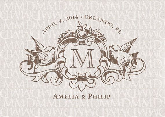 Love+Birds+Heraldry+Monogram+Custom+Wedding+by+merrymint+on+Etsy,+$25.00