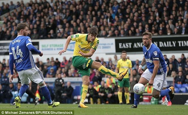 Timm Klose of Norwich City tries a shot atBartosz Bialkowski's goal in the East Anglian Derby