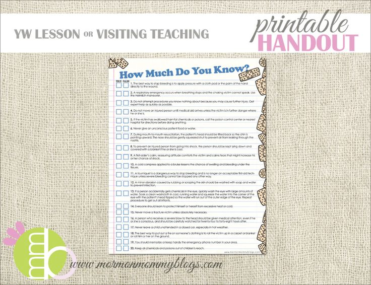 First Aid Quiz Printable Handout | Mormon Mommy Printables