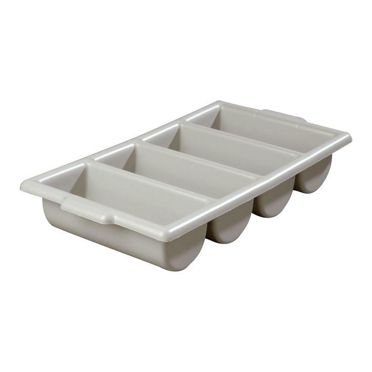 """Carlisle 107123 Silverware Tray - 4-Compartment, 21-1/4x11-1/2x3-3/4"""" Gray"""