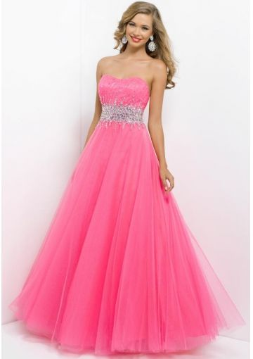 2014-a-line-sparkle-sequins-strapless-pink-organza-long-prom-dresses-formal-dress-blush-style - Prom dress guide