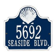 Custom Scallop Shell House Plaque - Blue and White