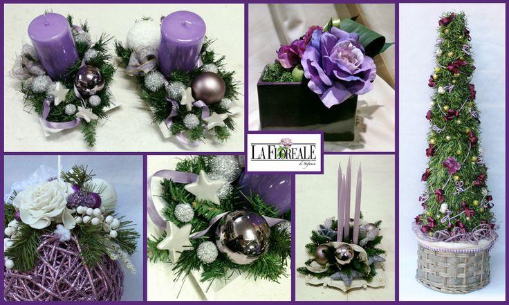 www.laflorealedistefania.it #natale2014 #centrotavola #decorazioninatale #viola #nataleviola #purplechristmas