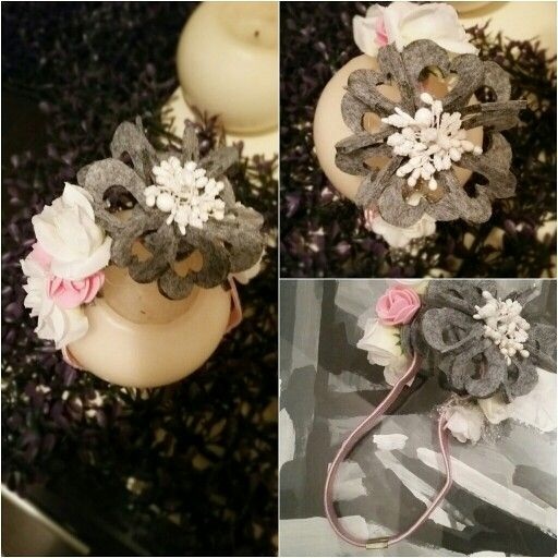 Baby headband whit hand made cotton flower