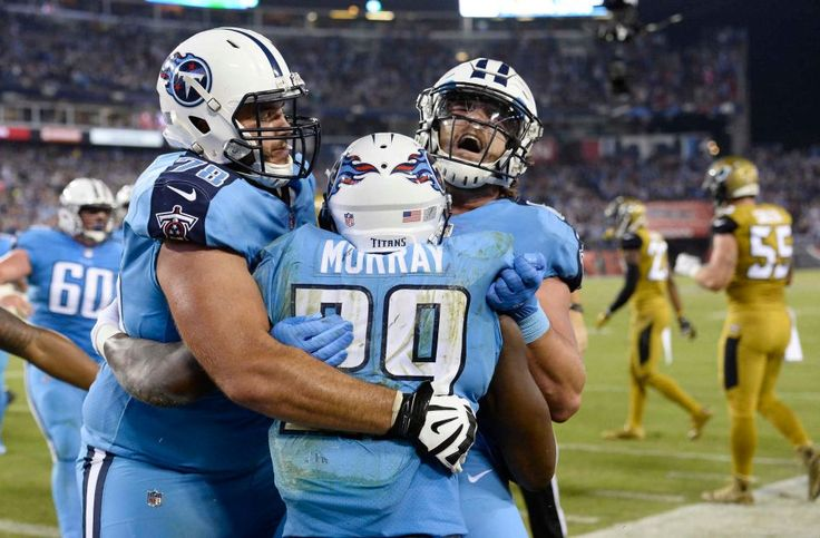 Thursday Night Football: Jaguars vs. Titans:    October 27, 2016  -  36-22, Titans   -    Tennessee Titans running back DeMarco Murray (29) celebrates with offensive tackle Jack Conklin (78) and tight end Phillip Supernaw, right, after Murray scored a touchdown on a 14-yard run against the Jacksonville Jaguars in the first half of an NFL football game Thursday, Oct. 27, 2016, in Nashville, Tenn.