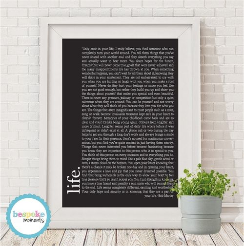 Bob Marley Quote Print by Bespoke Moments. Worldwide Shipping Available.
