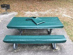 Table Glove Fitted Marine Grade Vinyl Picnic Tablecloth Sets -Picnic Table Cloth Cover – Hand Made – Great For Camping or Full time RV Living (6ft, Emerald Green)