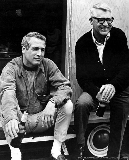 Cary Grant visits Paul Newman on the set of Winning (1969)
