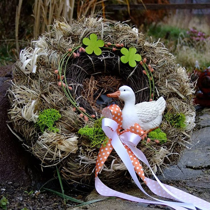 Jarní věnec - Bílá husička