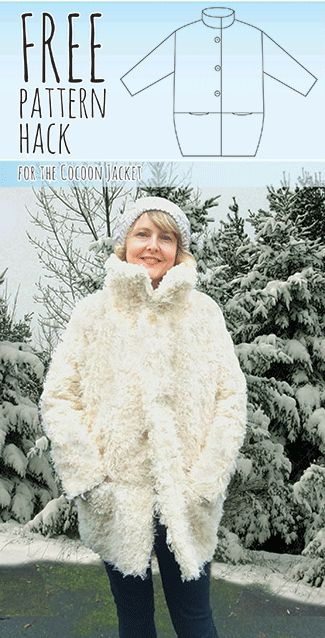 OK sewists, I have a fab new and completely FREE pattern hack for the Cocoon Jacket. With a couple of simple adjustments, you too can be the Abominable Snowman. Ahem…. what I mean is that you too can convert your pattern into this snug Funnel Neck Cocoon Coat. I've worn this coat non-stop since I made…