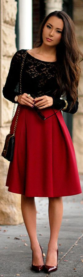 Red Midi + Black Lace