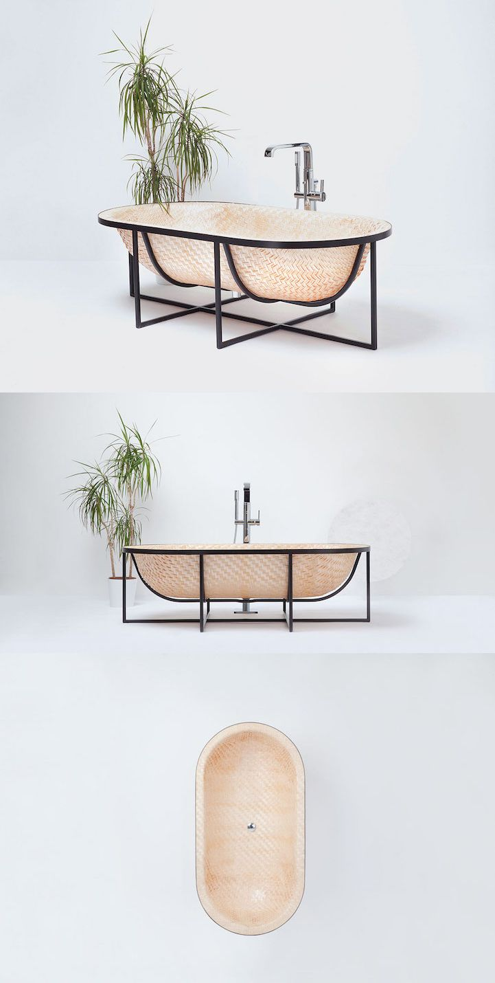 Israeli designer Talengel has taken a cue from traditional Asian boat-building to craft a tub out of woven wood.