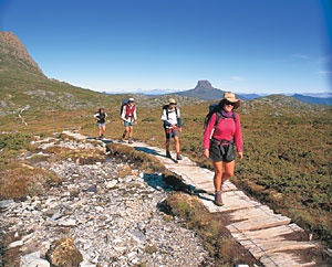 Australia's most famous walking track, the Tasmania Overland Track, spans 73 kilometers, or 45 miles, across the Cradle Mountain Lake St. Clair National Park. Along the way, this track passes through dolerite mountains, near beautiful waterfalls, and close to Tasmania's highest mountain before finishing at Australia's deepest lake. The entire route takes about six days.