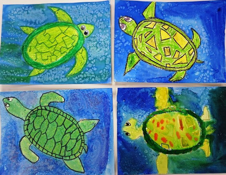 Turtles and watercolor techniques