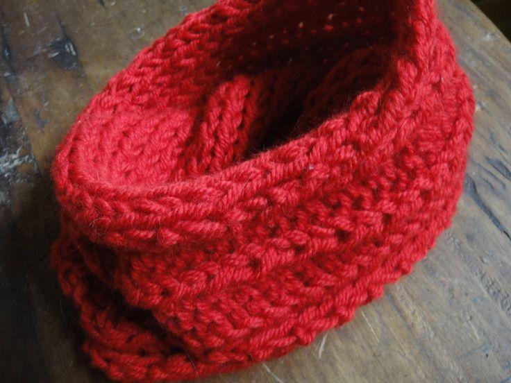 Cuello doble tejido en lana natural de oveja con dos agujas y ...