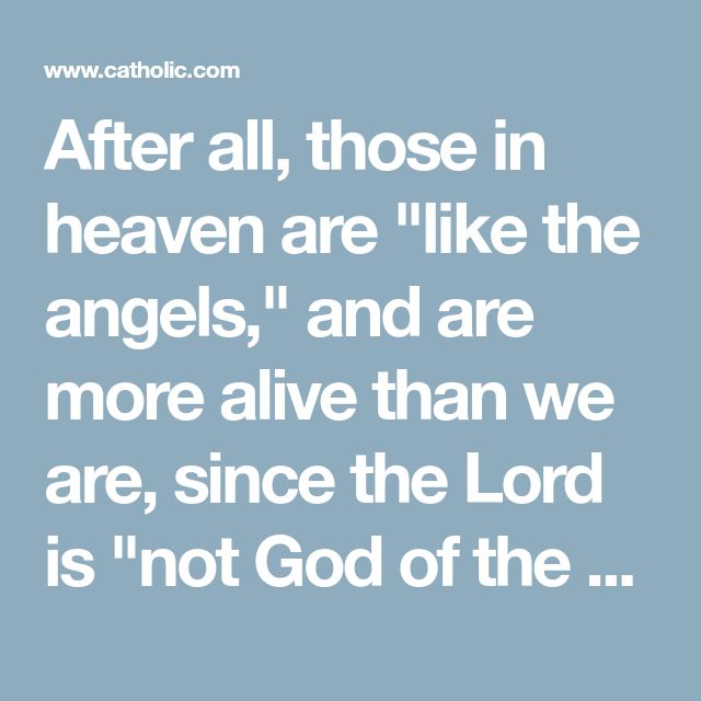 "After all, those in heaven are ""like the angels,"" and are more alive than we are, since the Lord is ""not God of the dead, but of the living"" (Luke 20:36–38). So, if it does not offend God when a Catholic says ""St. Peter, pray for me,"" we should all rejoice that God has given us the gift of Peter's prayers."