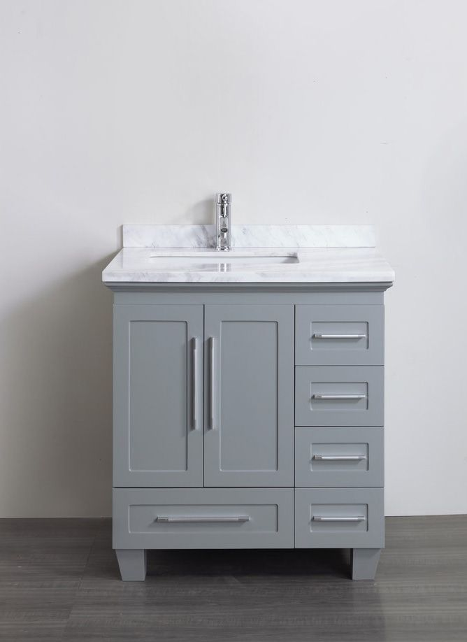 accanto contemporary 30 inch grey finish bathroom vanity marble countertop - Bathroom Cabinets Small