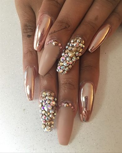 Rose Gold Chrome By Bellissimanails Gold Chrome Nails