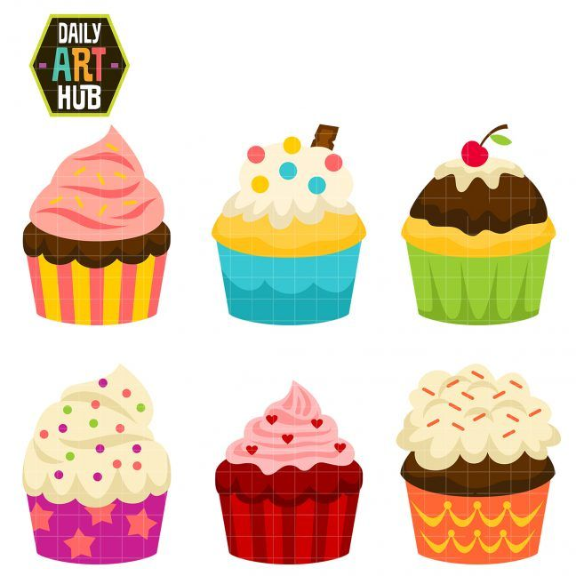 Party Cup Cakes Clip Art Set Daily Art Hub Free Clip Art Everyday Cupcake Clipart Cupcake Toppers Paper Cake Drawing