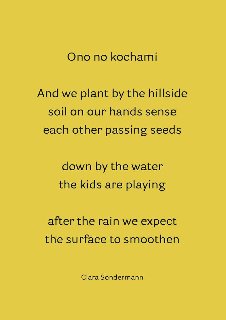 Clara Sondermann (Germany) Ono no Kochami. Poems