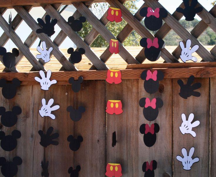 Cumpleaños Mickey Mouse fiesta mano pantalones o guirnalda de