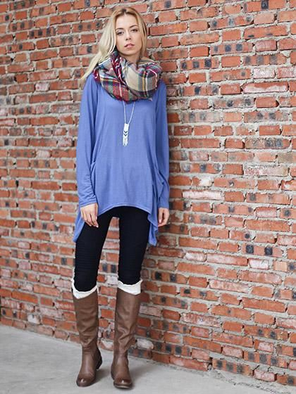 Chicnico Casual Basic Round Neckline Pocket Blue Batwing Top