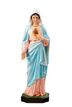 Sacro Cuore di Maria altezza cm. 85 in vetroresina dipinta con colori acrilici e finiture ad olio disponibile anche con occhi di vetro  http://www.ovunqueproteggimi.com/collezione-statue/madonne/sacro-cuore-di-maria/