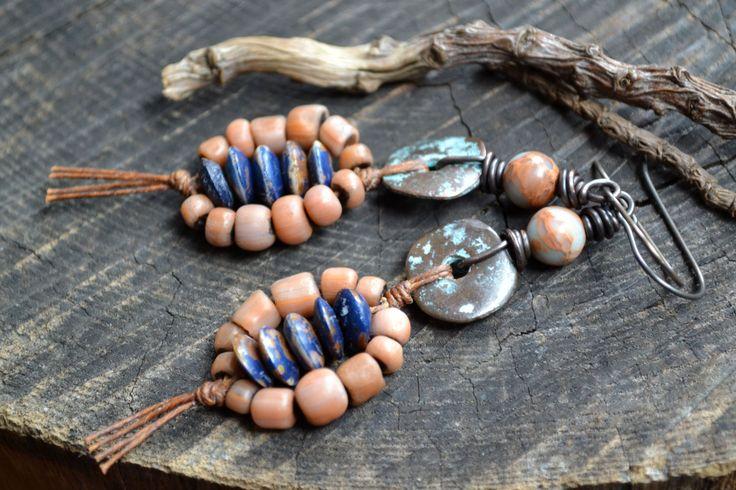 Indian Sundial inspired bone & glass earrings Desert Sunset  Native Southwest Rustic Earthy boho chic / Tribal Terracotta Aqua Indigo blue (36.00 USD) by JeSoulStudio - handmade - jewelry - jewellery - artisan - earrings - etsy