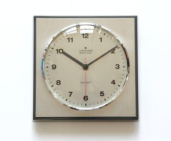 bauhaus modernist junghans ato mat wall clock germany. Black Bedroom Furniture Sets. Home Design Ideas