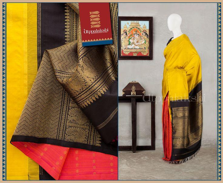 Golden red bhuttis on the pleats and swarnapakshis in antique strain flank the zaried pallu.#Utppalakshi #Silksaree#Kancheevaramsilksaree#Kanchipuramsilks #Ethinc#Indian #traditional #dress#wedding #silk #saree #weaving#Chennai #boutique #vibrant#exquisit#weddingsaree#sareedesign #colorful #vivid #indian #southindian #bridal #festival #sophistication https://www.facebook.com/Utppalakshi/Contact: 097899 37149