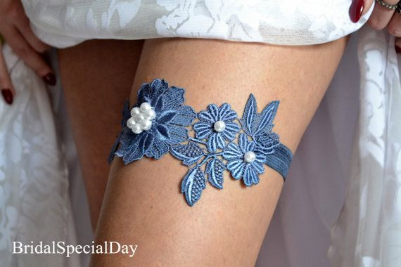Lace Wedding Garter Blue Bridal Garter Something Blue Garter With Pearls - Handmade Wedding Accessories via Etsy