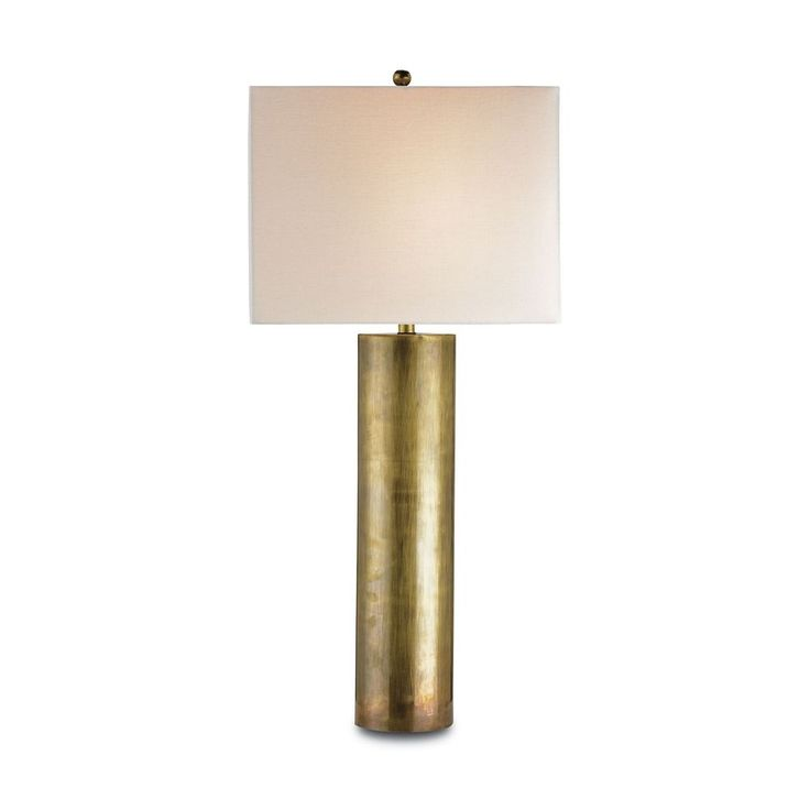 Currey and Company Lighting Modern Table Lamp with Beige / Cream Shade in Vintage Brass Finish 6504